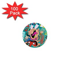 Cartoons Funny Face Patten 1  Mini Magnets (100 Pack)  by AnjaniArt