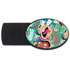Cartoons Funny Face Patten Usb Flash Drive Oval (4 Gb)  by AnjaniArt