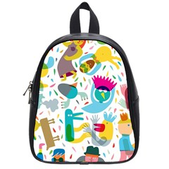 Colorful Cartoon Funny People School Bags (Small)  by AnjaniArt