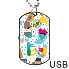 Colorful Cartoon Funny People Dog Tag USB Flash (Two Sides)  by AnjaniArt