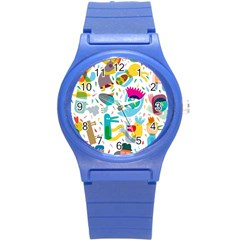 Colorful Cartoon Funny People Round Plastic Sport Watch (s) by AnjaniArt