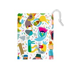 Colorful Cartoon Funny People Drawstring Pouches (medium)  by AnjaniArt