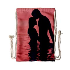 Couple In Love Beach Drawstring Bag (small) by AnjaniArt