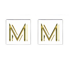 M Monogram Initial Letter M Golden Chic Stylish Typography Gold Cufflinks (square) by yoursparklingshop