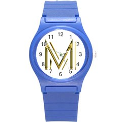 M Monogram Initial Letter M Golden Chic Stylish Typography Gold Round Plastic Sport Watch (s) by yoursparklingshop