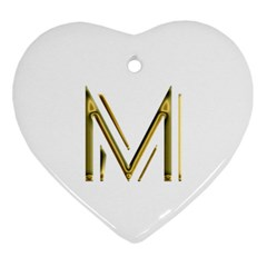 M Monogram Initial Letter M Golden Chic Stylish Typography Gold Ornament (heart)  by yoursparklingshop
