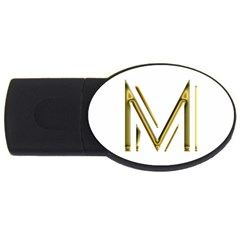 M Monogram Initial Letter M Golden Chic Stylish Typography Gold Usb Flash Drive Oval (2 Gb)  by yoursparklingshop