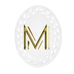 M Monogram Initial Letter M Golden Chic Stylish Typography Gold Oval Filigree Ornament (2 Side)  by yoursparklingshop