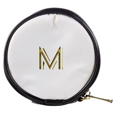 M Monogram Initial Letter M Golden Chic Stylish Typography Gold Mini Makeup Bags by yoursparklingshop