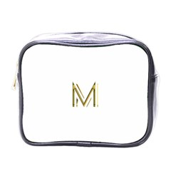 M Monogram Initial Letter M Golden Chic Stylish Typography Gold Mini Toiletries Bags by yoursparklingshop