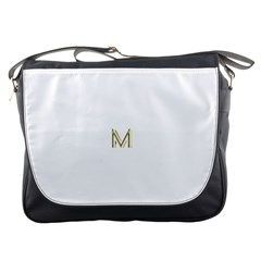 M Monogram Initial Letter M Golden Chic Stylish Typography Gold Messenger Bags by yoursparklingshop