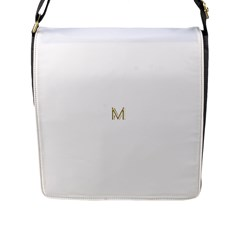 M Monogram Initial Letter M Golden Chic Stylish Typography Gold Flap Messenger Bag (l)  by yoursparklingshop