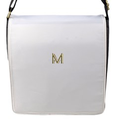 M Monogram Initial Letter M Golden Chic Stylish Typography Gold Flap Messenger Bag (s) by yoursparklingshop