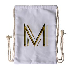 M Monogram Initial Letter M Golden Chic Stylish Typography Gold Drawstring Bag (large) by yoursparklingshop