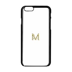 M Monogram Initial Letter M Golden Chic Stylish Typography Gold Apple Iphone 6/6s Black Enamel Case by yoursparklingshop
