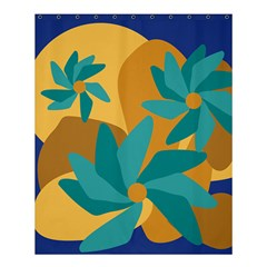 Urban Garden Abstract Flowers Blue Teal Carrot Orange Brown Shower Curtain 60  X 72  (medium)  by CircusValleyMall