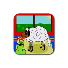 Urban Sheep Rubber Coaster (square)  by Valentinaart