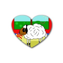 Urban Sheep Rubber Coaster (heart)  by Valentinaart