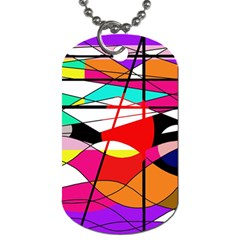 Abstract Waves Dog Tag (two Sides) by Valentinaart