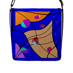 Decorative Abstract Art Flap Messenger Bag (l)  by Valentinaart