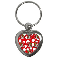 Mushrooms Pattern Key Chains (heart)  by Valentinaart