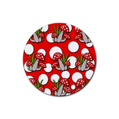 Mushrooms Pattern Rubber Round Coaster (4 Pack)  by Valentinaart