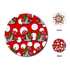 Mushrooms Pattern Playing Cards (round)  by Valentinaart