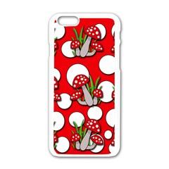 Mushrooms Pattern Apple Iphone 6/6s White Enamel Case by Valentinaart
