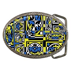 Blue And Yellow Decor Belt Buckles by Valentinaart