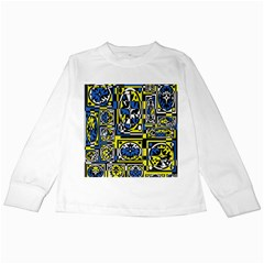 Blue And Yellow Decor Kids Long Sleeve T Shirts by Valentinaart