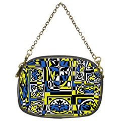 Blue And Yellow Decor Chain Purses (two Sides)  by Valentinaart