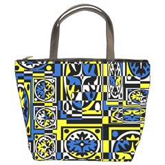Blue and yellow decor Bucket Bags