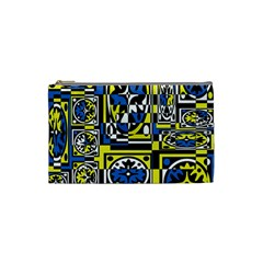 Blue And Yellow Decor Cosmetic Bag (small)  by Valentinaart