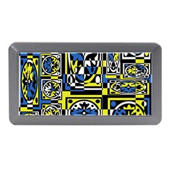 Blue And Yellow Decor Memory Card Reader (mini) by Valentinaart