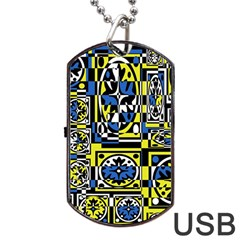 Blue And Yellow Decor Dog Tag Usb Flash (one Side) by Valentinaart