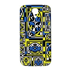 Blue And Yellow Decor Samsung Galaxy S4 I9500/i9505  Hardshell Back Case by Valentinaart