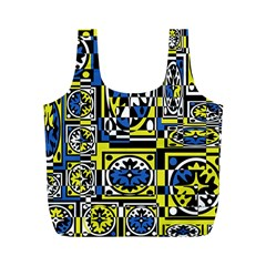 Blue And Yellow Decor Full Print Recycle Bags (m)  by Valentinaart