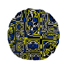 Blue And Yellow Decor Standard 15  Premium Flano Round Cushions by Valentinaart