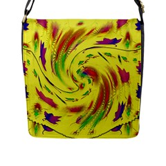 Leaf And Rainbows In The Wind Flap Messenger Bag (l)  by pepitasart