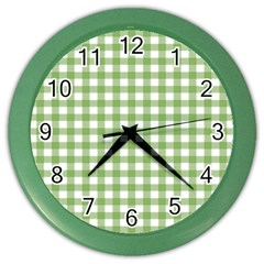 Avocado Green Gingham Classic Traditional Pattern Color Wall Clocks by CircusValleyMall