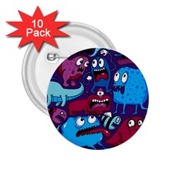 Deep Wow Purple Cartoons 2 25  Buttons (10 Pack)  by AnjaniArt