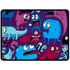 Deep Wow Purple Cartoons Double Sided Fleece Blanket (large)  by AnjaniArt