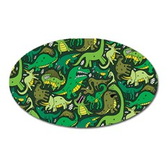 Dino Pattern Cartoons Oval Magnet by AnjaniArt