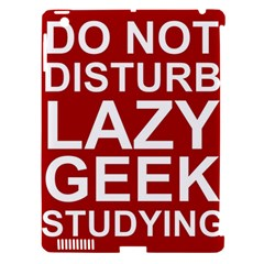 Do Not Disturb Lazy Geek Studying Glass Framed Poster Apple Ipad 3/4 Hardshell Case (compatible With Smart Cover)
