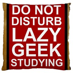 Do Not Disturb Lazy Geek Studying Glass Framed Poster Large Cushion Case (two Sides)