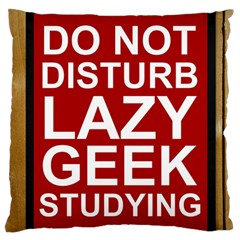 Do Not Disturb Lazy Geek Studying Glass Framed Poster Standard Flano Cushion Case (two Sides) by AnjaniArt