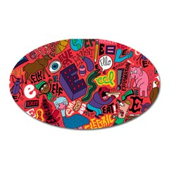 E Pattern Cartoons Oval Magnet by AnjaniArt
