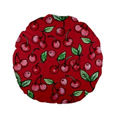 Cherry Cherries For Spring Standard 15  Premium Flano Round Cushions by BubbSnugg