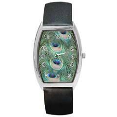 Peacock Feathers Macro Tonneau Leather Watch by GiftsbyNature