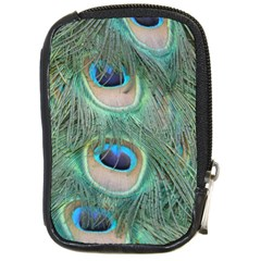 Peacock Feathers Macro Compact Camera Leather Case by GiftsbyNature